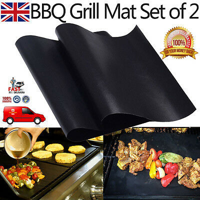 UK BBQ Grill Mats/Sheets Set of 2 Teflon Non Stick Oven Liner Baking Cooking Mat