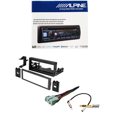 alpine cde-172bt car stereo with dash kit wire harness and antenna adapter  pkg