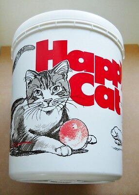 "Rare Vintage 1987 ""happy Cat"" Brand Plastic Cat Food Container With Lid-R.p. Co."