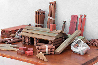 Rare Antique Lot of Wood Spindle Lincoln Logs and some extras 1920's