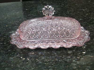 Rare L G Wright Daisy&button Pattern Vintage Pink Glass Butter Dish W/lid