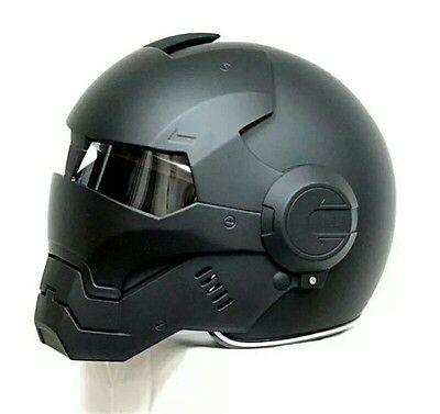 "Iron Man motorcycle helmet ""Masei"" open face half helmet black"