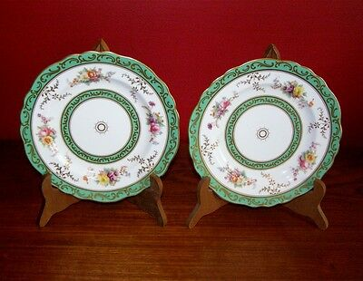 Antique Cauldon England Pair of Plates - Green/Gold Border w/ Floral Motif
