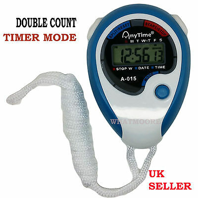Digital Handheld Black Sports Stopwatch Stop Watch Time Alarm Counter Timer