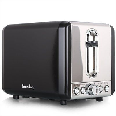 NEW Fortune Candy Extra Wide Slot 2-Slice Toaster Bagel Stainless Steel BLACK