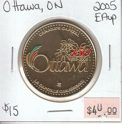 Ottawa Ontario Canada - Trade Dollar - 2005 Enameled Gold Plated