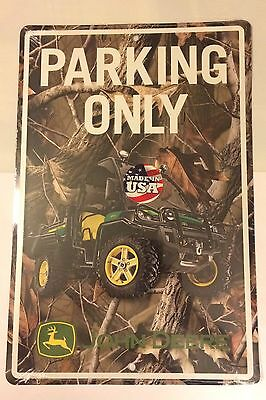"""John Deere Parking Only Sign Embossed Camo 12"""" X 18"""" Free Shipping"""