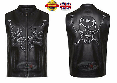 "Uk Stock Mens Real Leather Motorcycle ""Cut Off'' Biker Embossed Skull Waistcoat"