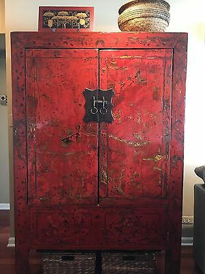 MOVING SALE antique authentic RED asian armorie
