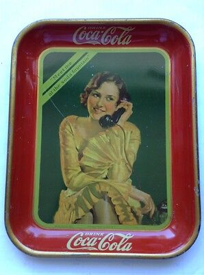 1930 Coca Cola Serving Tray Bottle Girl On Phone Fountain Sales Coke