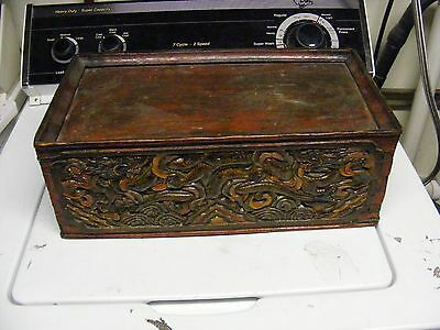 ANTIQUE VINTAGE CHINESE CARVED  DRAGONS carved box