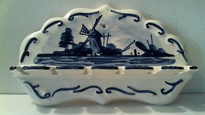 Vintage Delft Blue Hand Painted Spoon Holder Made In Holland