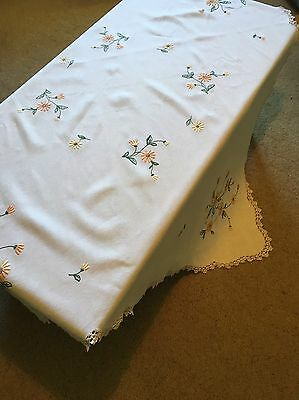 Vintage Hand Embroidered Linen Tablecloth Flowers Floral Square Crochet Edge