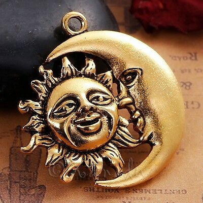 Sun And Moon Stars Celestial Antiqued Gold Plated Pendant C4850-1 2 Or 5PCs