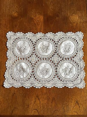 Vintage Ecru Hand Crocheted And Embroidered Doily Centrepiece Table