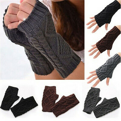 Unisex Men Women Long Gloves Arm Warmer Fingerless Knitted  Cute Mittens