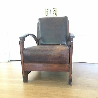 Leather Vintage Chair Minimalist Mid Century Modern California French