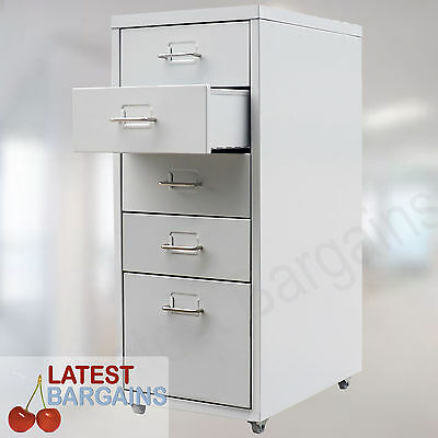5 Drawer Filing Cabinet Metal Steel File Storage Home Office Stationary Storage