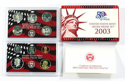 2003 United States US Mint Silver Proof Set ^NO QUARTERS  5 Coins ^