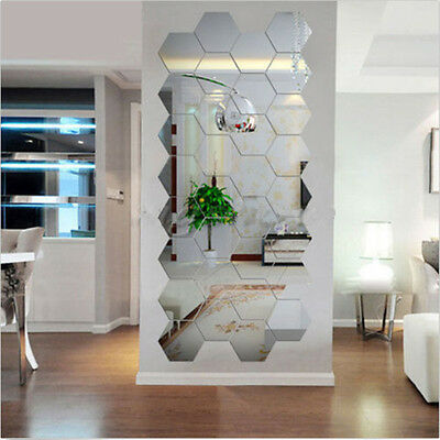12 * Acrylic Silver 3D Hexagonal Mirror Wall Stickers Home Removable Geometrical