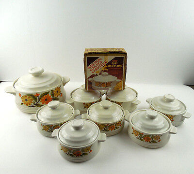 Capri Bake Serve N' Store Stoneware Set of 8, 7 Individual 1 Server Dishes Vtg