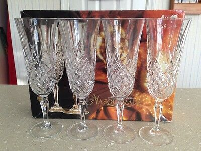 Set of 4 CRISTAL D'ARQUES MASQUERADE OF FRANCE 24% LEAD CRYSTAL CHAMPAGNE FLUTES