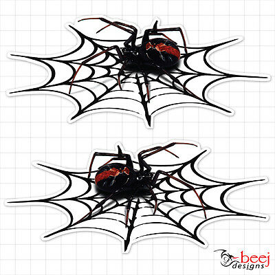 Redback on Web 150 x 65 mm ea (2 in set) Sticker Red Back Spider Insect