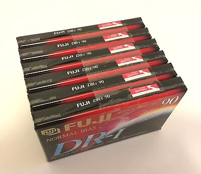 Six 6 Fuji Blank Audio Cassette Tapes DR-I 90 Media New Sealed 90 Minutes Each