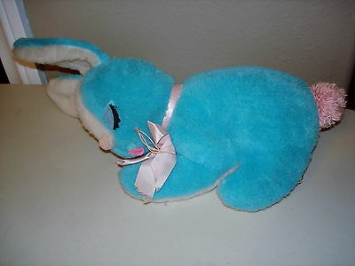 Vintage Knickerbocker Bunny Animals of Distinction Blue Plush Stuffed Rabbit