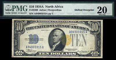 $10 1934A North Africa Emergency Note Shifted Overprint Error FR2309 PMG 20 RARE