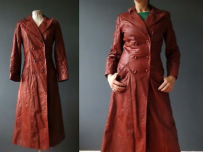 Vintage 70s Burgundy Persimmon Leather Trench Coat Sm  Buy 3+items for FREE Post
