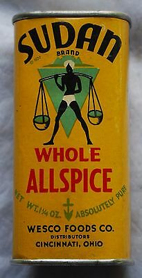 Vintage Sudan Brand Whole Allspice Spice Tin Can Container
