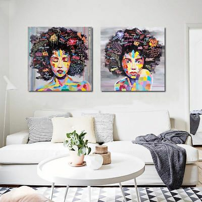 Modern African WomAn Portrait Canvas Wall Oil Painting Art Prints Home