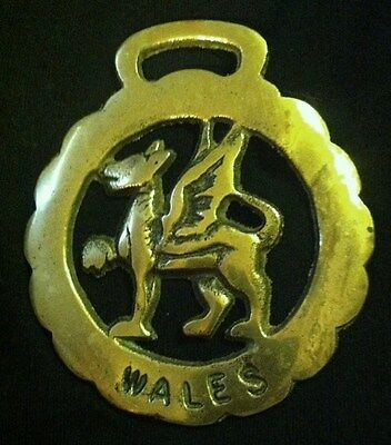 BENT Vintage WALES DRAGON Horse Harness Brass frm England WOW YOUR WALLS! CELTIC
