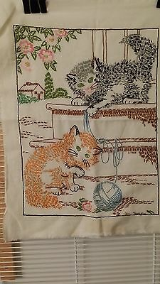 "Vintage Hand Embroidery Novelty Cat Sampler 38""x22"" Free Shipping"