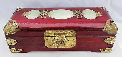 Vintage Chinese Jewelry Box - Rosewood, Brass And Jade Inlay