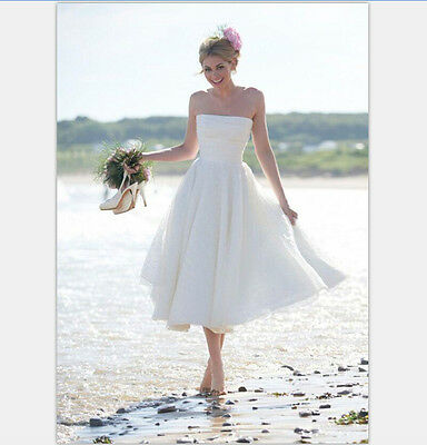2f0124e5ef6 ... vintage 1950s tea length short beach wedding dress bridal white ivory  custom ...
