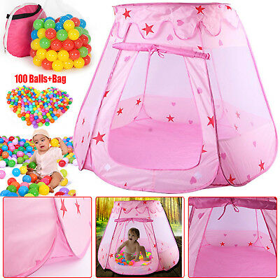 Childrens Kid Tent Ball Pool Pit Toy Playhouse PopUp Nursery Garden 100Balls+Bag
