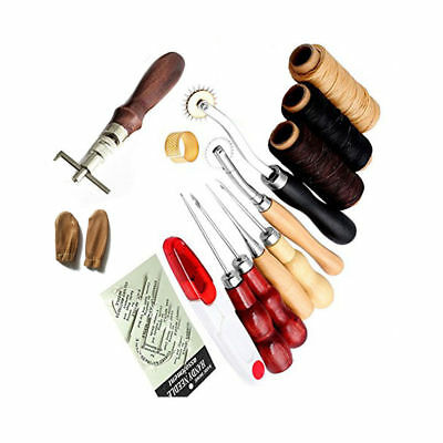 14Pcs Leder Werkzeug Leather Craft Hand Sewing Stitching Groover Tool Kits Set