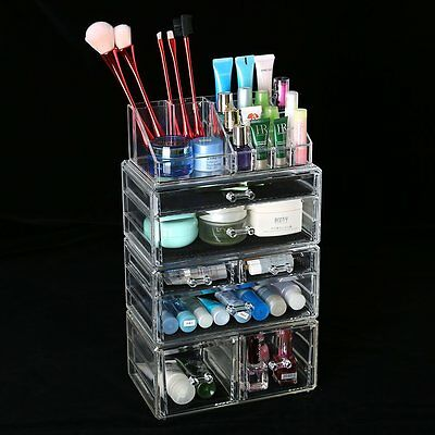Cosmetic 7 Drawer Makeup Organizer Storage Jewellery Box Acrylic Holder 5 Tier