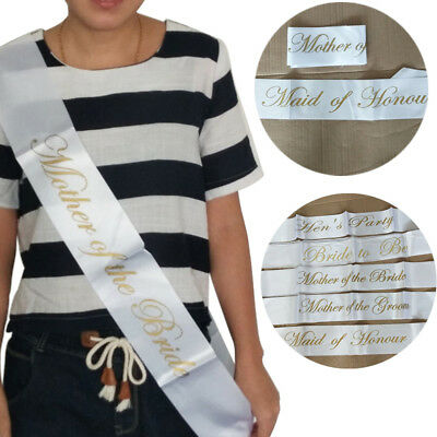 White & Gold Bride to be Sash Girls Hen Night Bachelorette Bridal Shower Party