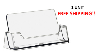 Business Card Holder Plastic Crystal Clear Stand Display Office Desktop Single