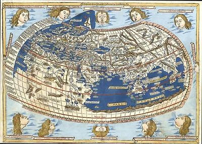 Antique Map Claudius Ptolemy Map Of The World As Seen In 1482  Ideal For Framing