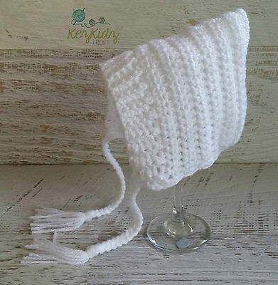 NEWBORN Crochet Knitted Baby Pixie Bonnet Beanie Photo Prop / Handmade in Vic.