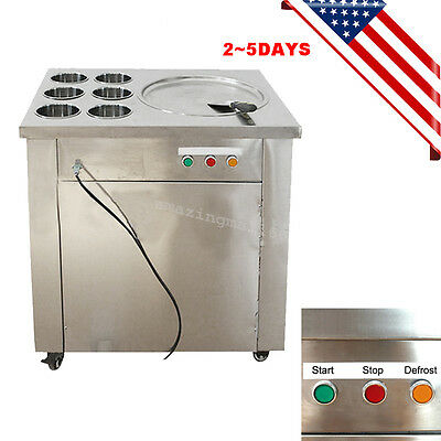 Commercial Fried Ice Cream Machine 1pan 6Xboxes Ice Crean Roll Making Machine CE