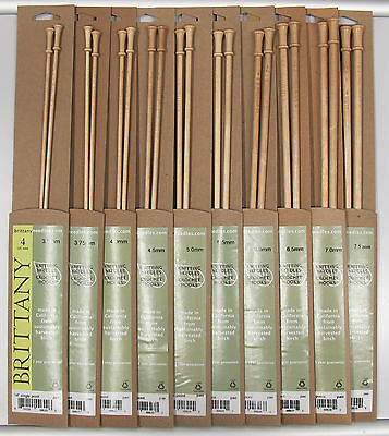 "14/"" Brittany BIRCH Straight Knitting Needles Pins 6.5mm x 35cm"