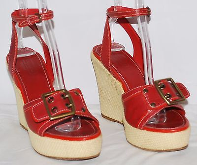 "Coach Barrie Red Strappy Open Toe Platform 4.75"" heels Women's Size 8.5B EUC"