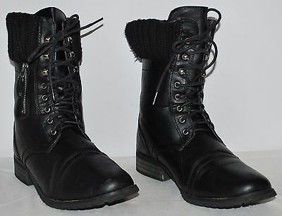 Jacobies Black Lace Up Mid Calf Combat Boots Women's size 8 GUC