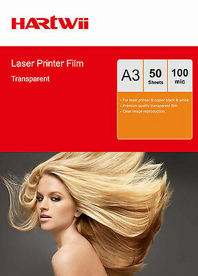 50 Sheets Overhead Projector OHP Film Clear A3 420x297 Laser Printer Hartwii AU