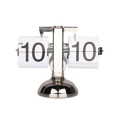 Vintage Style Single Stand Metal Home Office Tabletop Decor Auto Flip Clock